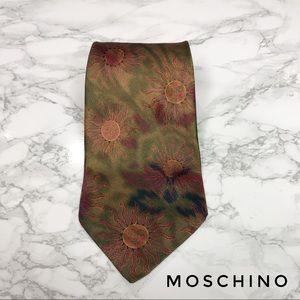 Moschino Cravatte Green Yellow Red Sun Print Tie
